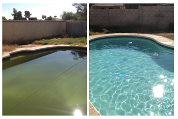 Before after cleaning a green pool