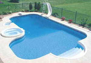Cloudy clean swimming pool water