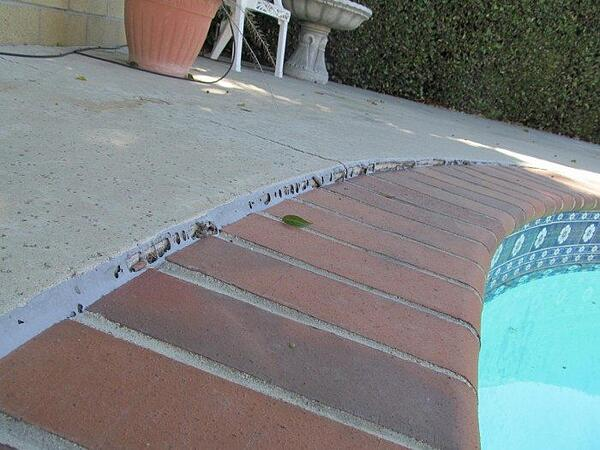 caulk damage repair for pool patio
