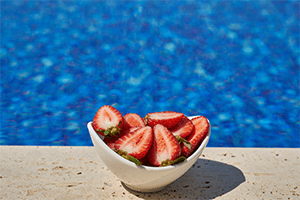 Strawberries by Swimming Pool